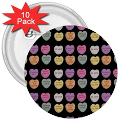 Valentine Hearts Black 3  Buttons (10 Pack)