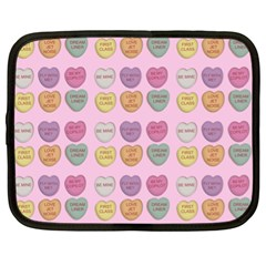 Valentine Hearts Pink Netbook Case (xl) by snowwhitegirl