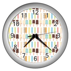 Candy Popsicles White Wall Clock (silver) by snowwhitegirl