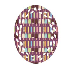 Candy Popsicles Purple Oval Filigree Ornament (two Sides) by snowwhitegirl