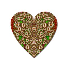Flower Wreaths And Ornate Sweet Fauna Heart Magnet by pepitasart