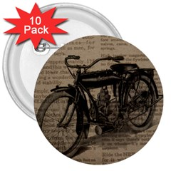Bicycle Letter 3  Buttons (10 Pack)  by vintage2030