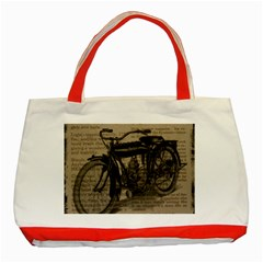 Bicycle Letter Classic Tote Bag (red) by vintage2030