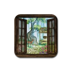 Town 1660349 1280 Rubber Square Coaster (4 Pack)