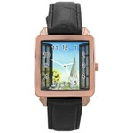 Town 1660455 1920 Rose Gold Leather Watch  Front