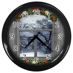 Winter 1660924 1920 Wall Clock (Black)