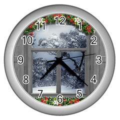 Winter 1660924 1920 Wall Clock (Silver)