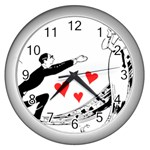 Manloveswoman Wall Clock (Silver) Front