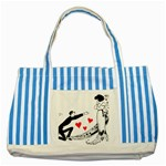 Manloveswoman Striped Blue Tote Bag Front