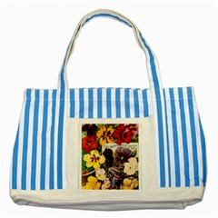 Flowers 1776534 1920 Striped Blue Tote Bag by vintage2030