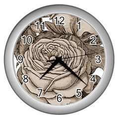 Flowers 1776626 1920 Wall Clock (silver) by vintage2030