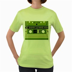 Cassette 40267 1280 Women s Green T Shirt by vintage2030