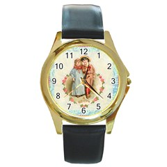 Kids Heart Round Gold Metal Watch by vintage2030