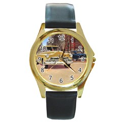 Retro Cars Round Gold Metal Watch by vintage2030