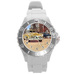 Retro Cars Round Plastic Sport Watch (l) by vintage2030