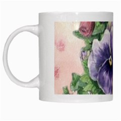 Lowers Pansy White Mugs