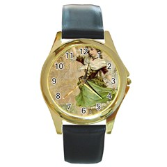 Fairy 1229005 1280 Round Gold Metal Watch by vintage2030