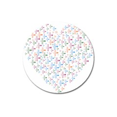 Heart Colorful Transparent Religion Magnet 3  (round) by Sapixe