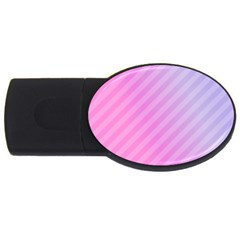 Diagonal Pink Stripe Gradient Usb Flash Drive Oval (2 Gb) by Sapixe