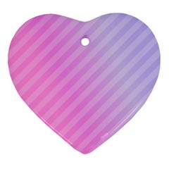 Diagonal Pink Stripe Gradient Heart Ornament (two Sides)