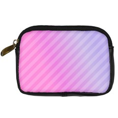 Diagonal Pink Stripe Gradient Digital Camera Leather Case by Sapixe
