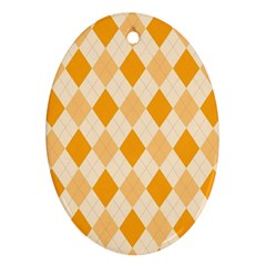 Argyle Pattern Seamless Design Oval Ornament (two Sides)