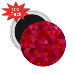 Maroon Dark Red Triangle Mosaic 2 25  Magnets (100 Pack)  by Sapixe