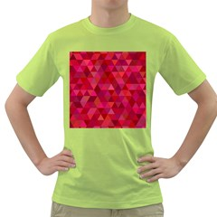 Maroon Dark Red Triangle Mosaic Green T Shirt by Sapixe