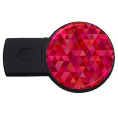 Maroon Dark Red Triangle Mosaic Usb Flash Drive Round (2 Gb) by Sapixe