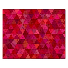 Maroon Dark Red Triangle Mosaic Rectangular Jigsaw Puzzl