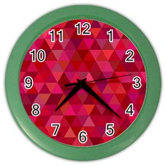Maroon Dark Red Triangle Mosaic Color Wall Clock by Sapixe
