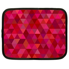 Maroon Dark Red Triangle Mosaic Netbook Case (large) by Sapixe