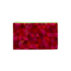 Maroon Dark Red Triangle Mosaic Cosmetic Bag (xs)