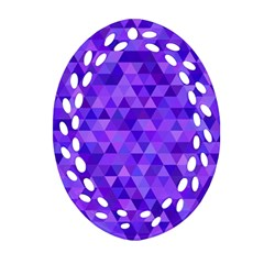 Purple Triangle Purple Background Ornament (oval Filigree)