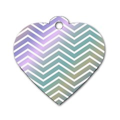 Zigzag Line Pattern Zig Zag Dog Tag Heart (two Sides)