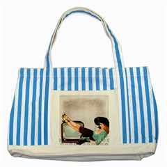 Vintage 1133810 1920 Striped Blue Tote Bag
