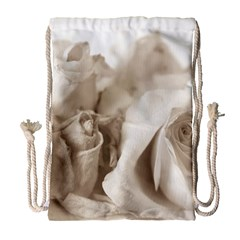 Vintage Rose Shabby Chic Background Drawstring Bag (large) by Sapixe