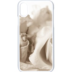 Vintage Rose Shabby Chic Background Apple Iphone X Seamless Case (white)