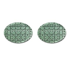 Pattern Graphics Figure Line Glass Cufflinks (oval)