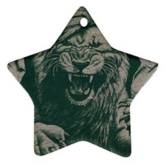 Angry Male Lion Pattern Graphics Kazakh Al Fabric Star Ornament (two Sides) by Sapixe