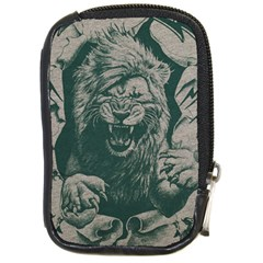 Angry Male Lion Pattern Graphics Kazakh Al Fabric Compact Camera Leather Case