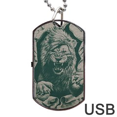Angry Male Lion Pattern Graphics Kazakh Al Fabric Dog Tag Usb Flash (two Sides)