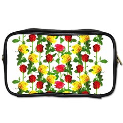 Rose Pattern Roses Background Image Toiletries Bag (two Sides) by Sapixe