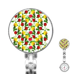 Rose Pattern Roses Background Image Stainless Steel Nurses Watch by Sapixe