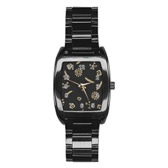 Pattern Seamless American Culture Stainless Steel Barrel Watch