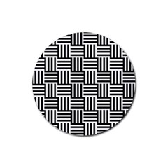 Basket Black Lines Stripes White Rubber Coaster (round)
