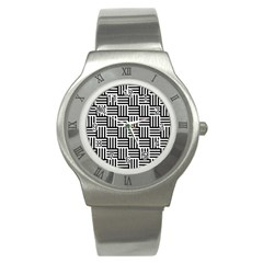 Basket Black Lines Stripes White Stainless Steel Watch by Sapixe