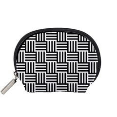 Basket Black Lines Stripes White Accessory Pouch (small) by Sapixe