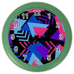 Memphis Pattern Geometric Abstract Color Wall Clock