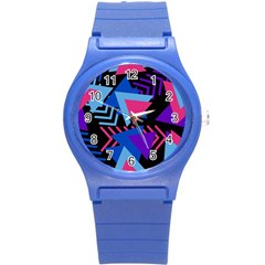 Memphis Pattern Geometric Abstract Round Plastic Sport Watch (s)